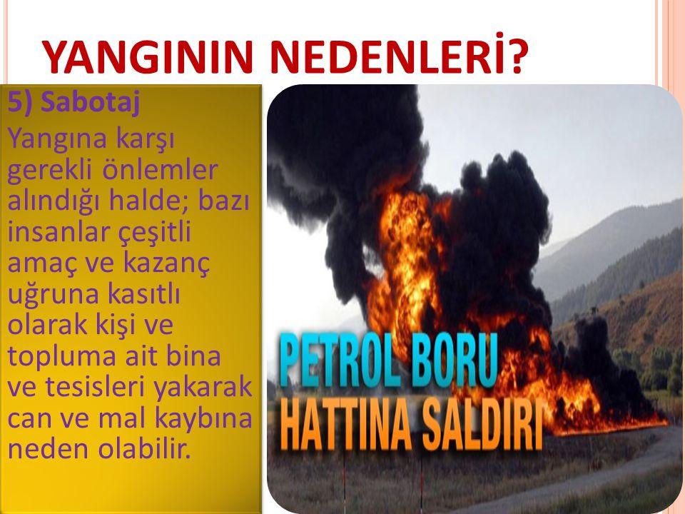 YANGININ NEDENLERİ? 5) Sabotaj Yangına karşı gerekli önlemler alındığı halde; bazı insanlar çeşitli amaç ve kazanç uğruna kasıtlı olarak kişi ve toplu