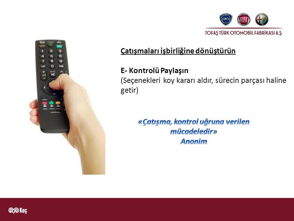 Çatışmaları işbirliğine dönüştürün E- Kontrolü Paylaşın (Seçenekleri koy kararı aldır, sürecin parçası haline getir)