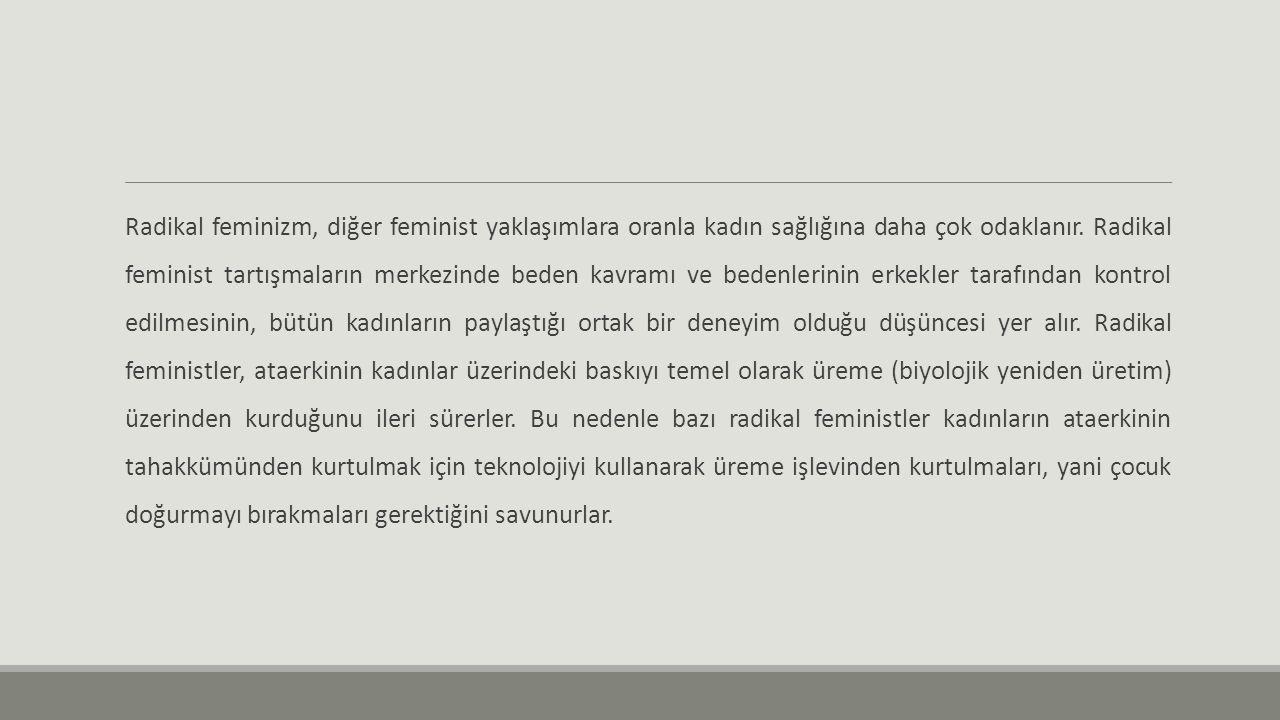 Radikal feminizm, diğer feminist yaklaşımlara oranla kadın sağlığına daha çok odaklanır. Radikal feminist tartışmaların merkezinde beden kavramı ve be