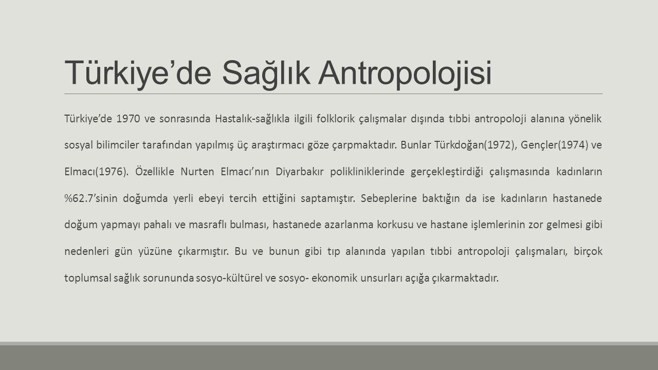 Türkiye'de Sağlık Antropolojisi Türkiye'de 1970 ve sonrasında Hastalık-sağlıkla ilgili folklorik çalışmalar dışında tıbbi antropoloji alanına yönelik