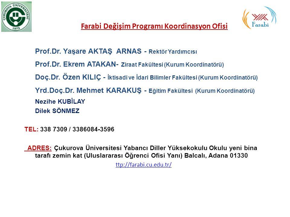 Farabi Değişim Programı Koordinasyon Ofisi Prof.Dr. Yaşare AKTAŞ ARNAS - Rektör Yardımcısı Prof.Dr. Ekrem ATAKAN- Ziraat Fakültesi (Kurum Koordinatörü