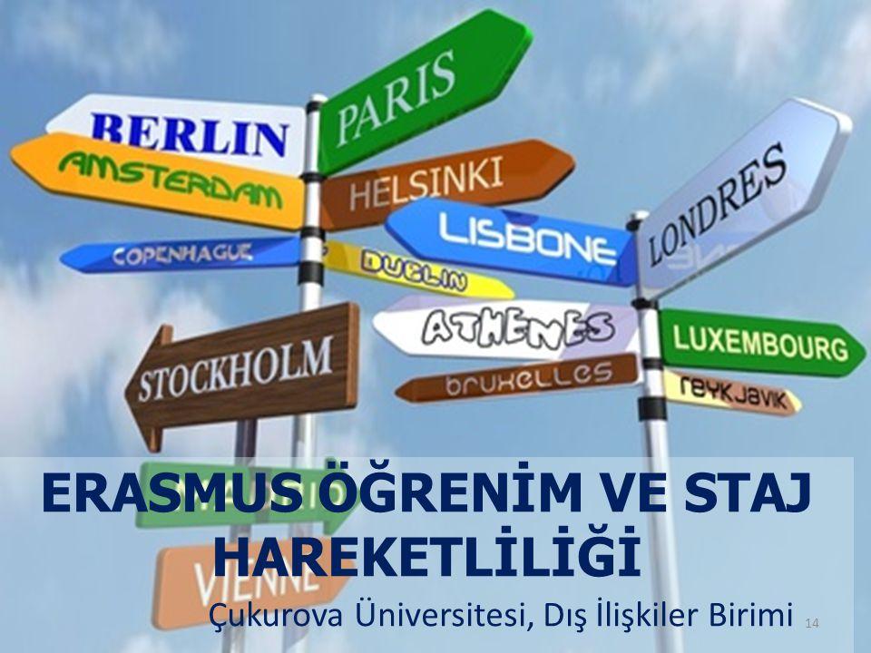 ERASMUS ÖĞRENİM VE STAJ HAREKETLİLİĞİ 14 Çukurova Üniversitesi, Dış İlişkiler Birimi