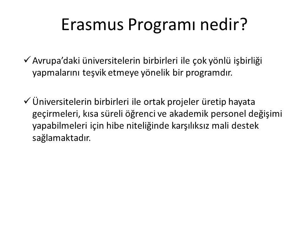 Erasmus Programı nedir?  Avrupa'daki üniversitelerin birbirleri ile çok yönlü işbirliği yapmalarını teşvik etmeye yönelik bir programdır.  Üniversit