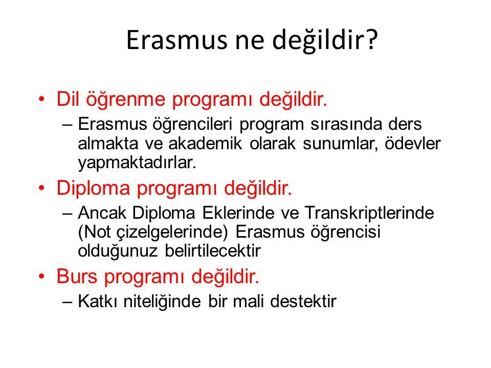 Erasmus ne değildir? •Dil öğrenme programı değildir. –Erasmus öğrencileri program sırasında ders almakta ve akademik olarak sunumlar, ödevler yapmakta