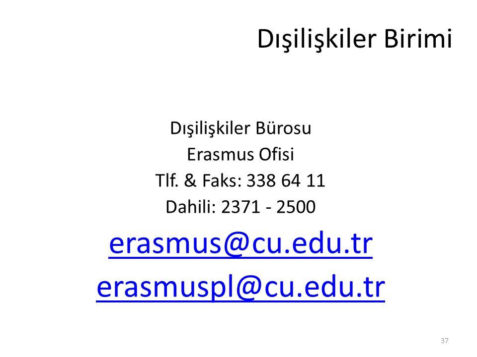 Dışilişkiler Birimi Dışilişkiler Bürosu Erasmus Ofisi Tlf. & Faks: 338 64 11 Dahili: 2371 - 2500 erasmus@cu.edu.tr erasmuspl@cu.edu.tr 37
