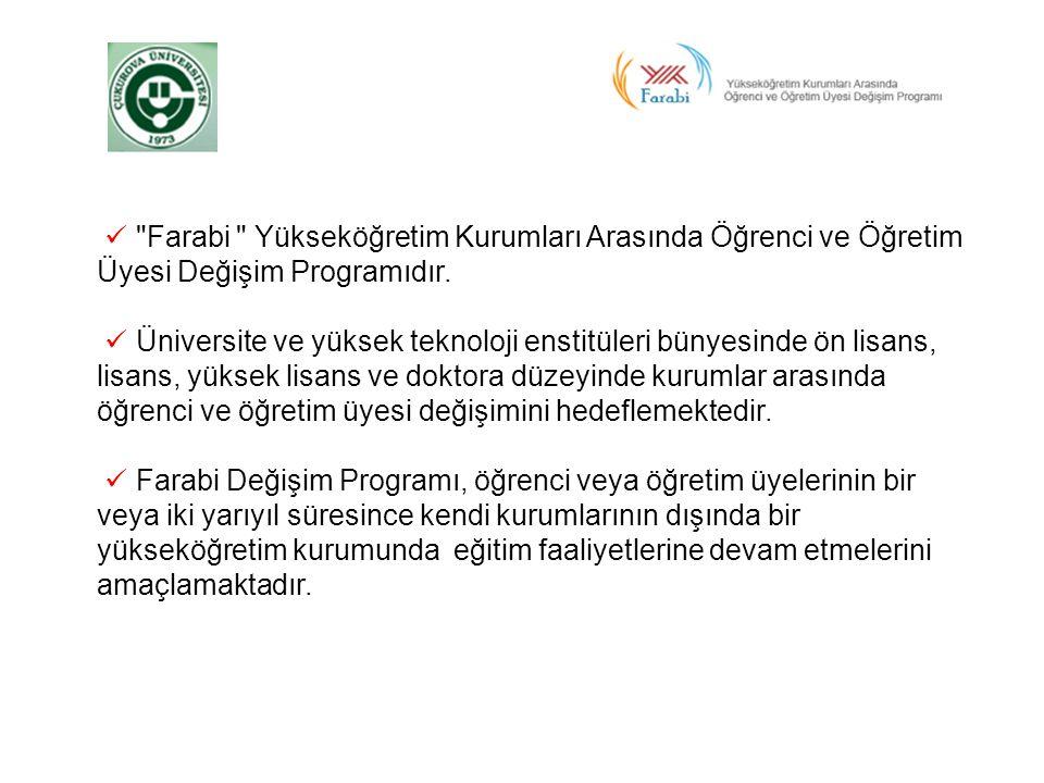  Farabi Yükseköğretim Kurumları Arasında Öğrenci ve Öğretim Üyesi Değişim Programıdır.