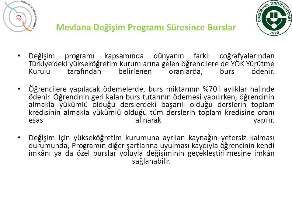 Mevlana Değişim Programı Süresince Burslar • Değişim programı kapsamında dünyanın farklı coğrafyalarından Türkiye'deki yükseköğretim kurumlarına gelen