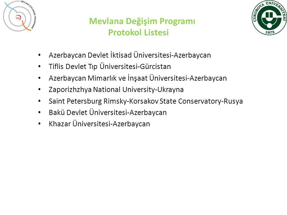 Mevlana Değişim Programı Protokol Listesi • Azerbaycan Devlet İktisad Üniversitesi-Azerbaycan • Tiflis Devlet Tıp Üniversitesi-Gürcistan • Azerbaycan