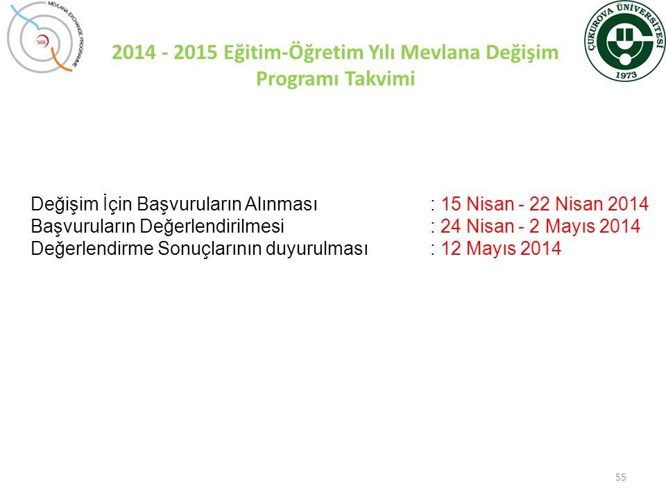 55 Değişim İçin Başvuruların Alınması: 15 Nisan - 22 Nisan 2014 Başvuruların Değerlendirilmesi: 24 Nisan - 2 Mayıs 2014 Değerlendirme Sonuçlarının duy