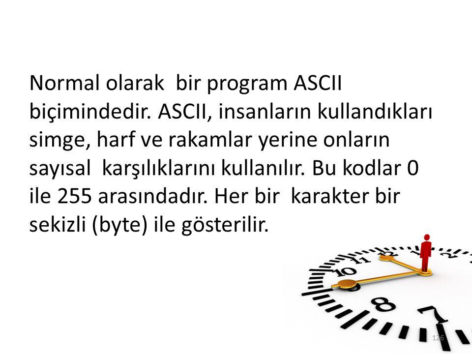 Normal olarak bir program ASCII biçimindedir. ASCII, insanların kullandıkları simge, harf ve rakamlar yerine onların sayısal karşılıklarını kullanılır