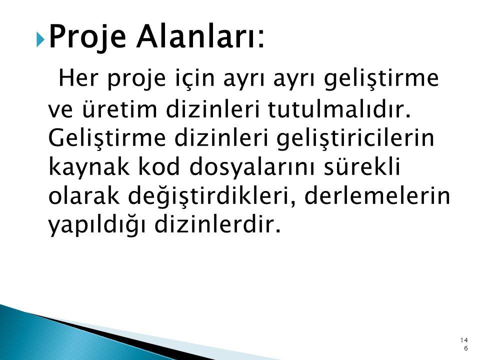  Proje Alanları: Her proje için ayrı ayrı geliştirme ve üretim dizinleri tutulmalıdır. Geliştirme dizinleri geliştiricilerin kaynak kod dosyalarını s