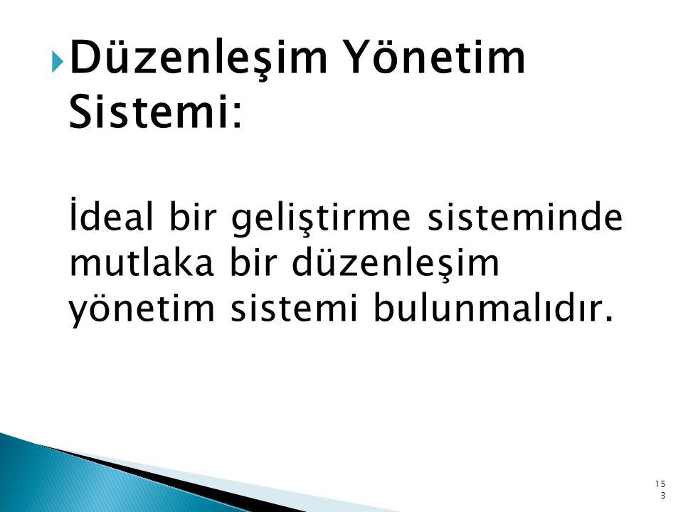  Düzenleşim Yönetim Sistemi: İdeal bir geliştirme sisteminde mutlaka bir düzenleşim yönetim sistemi bulunmalıdır. 153