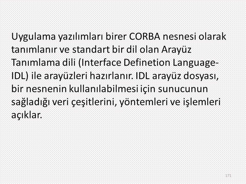 Uygulama yazılımları birer CORBA nesnesi olarak tanımlanır ve standart bir dil olan Arayüz Tanımlama dili (Interface Definetion Language- IDL) ile ara