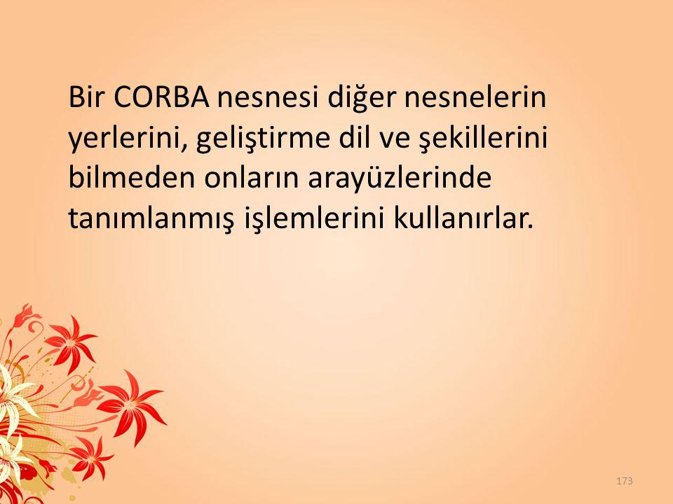 Bir CORBA nesnesi diğer nesnelerin yerlerini, geliştirme dil ve şekillerini bilmeden onların arayüzlerinde tanımlanmış işlemlerini kullanırlar. 173