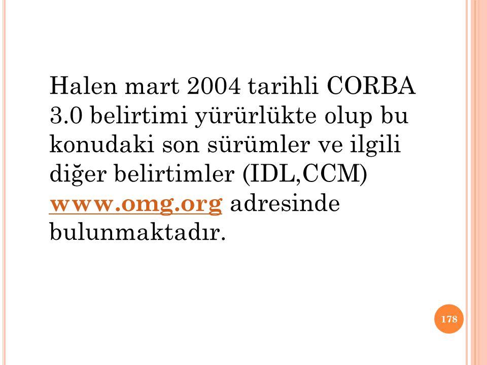 Halen mart 2004 tarihli CORBA 3.0 belirtimi yürürlükte olup bu konudaki son sürümler ve ilgili diğer belirtimler (IDL,CCM) www.omg.org adresinde bulun