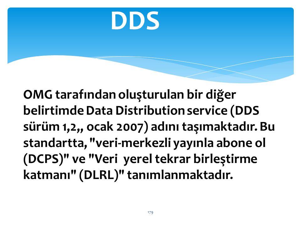 OMG tarafından oluşturulan bir diğer belirtimde Data Distribution service (DDS sürüm 1,2,, ocak 2007) adını taşımaktadır. Bu standartta,
