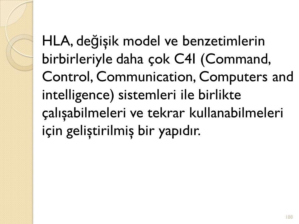 HLA, de ğ işik model ve benzetimlerin birbirleriyle daha çok C4I (Command, Control, Communication, Computers and intelligence) sistemleri ile birlikte