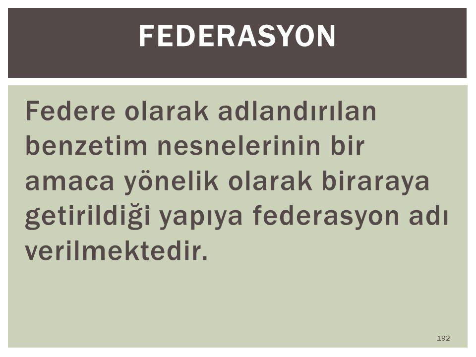 Federe olarak adlandırılan benzetim nesnelerinin bir amaca yönelik olarak biraraya getirildiği yapıya federasyon adı verilmektedir. FEDERASYON 192