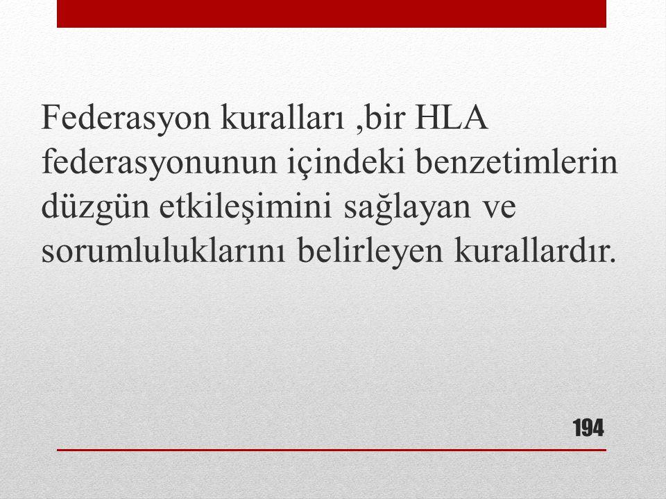 Federasyon kuralları,bir HLA federasyonunun içindeki benzetimlerin düzgün etkileşimini sağlayan ve sorumluluklarını belirleyen kurallardır. 194