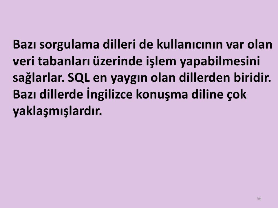 Bazı sorgulama dilleri de kullanıcının var olan veri tabanları üzerinde işlem yapabilmesini sağlarlar. SQL en yaygın olan dillerden biridir. Bazı dill