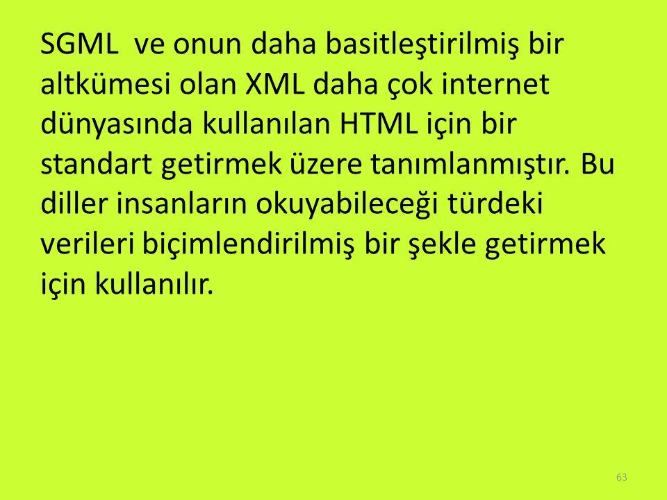 SGML ve onun daha basitleştirilmiş bir altkümesi olan XML daha çok internet dünyasında kullanılan HTML için bir standart getirmek üzere tanımlanmıştır