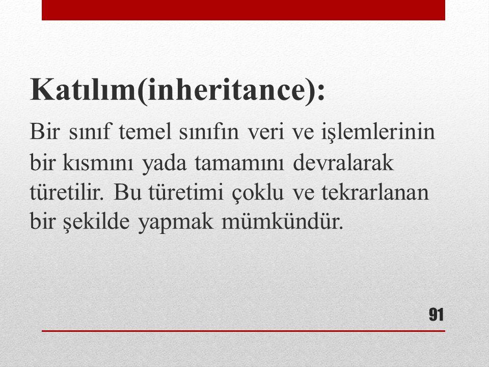 Katılım(inheritance): Bir sınıf temel sınıfın veri ve işlemlerinin bir kısmını yada tamamını devralarak türetilir. Bu türetimi çoklu ve tekrarlanan bi