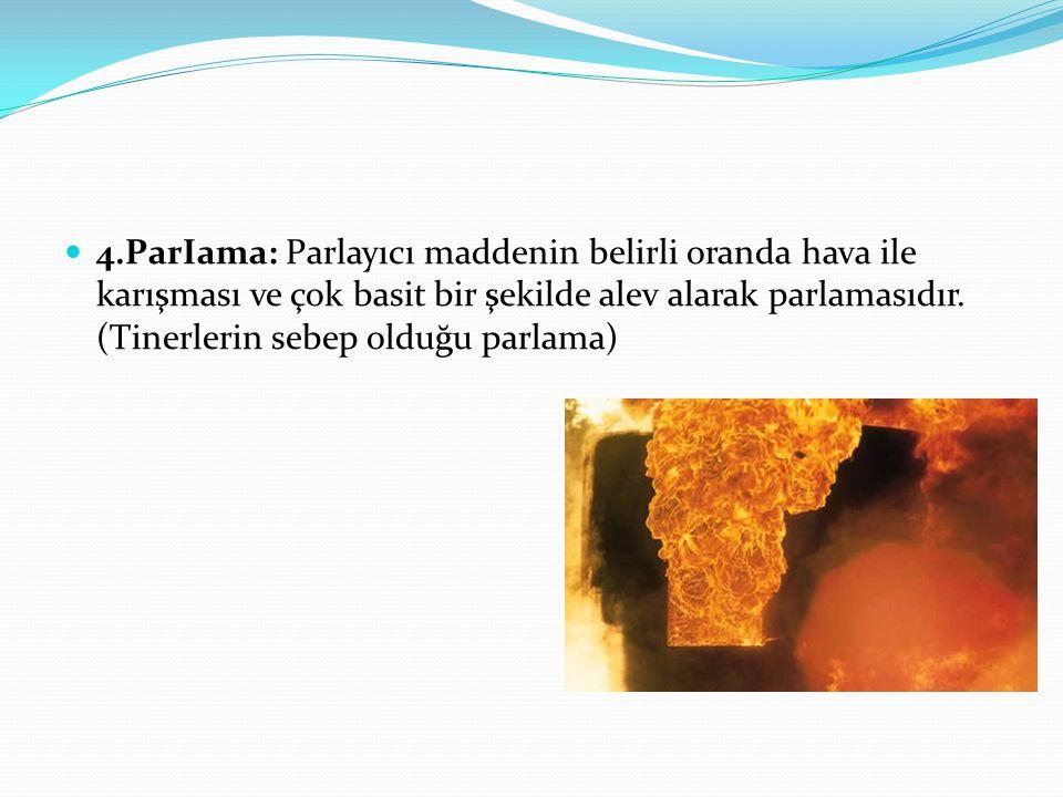  4.ParIama: Parlayıcı maddenin belirli oranda hava ile karışması ve çok basit bir şekilde alev alarak parlamasıdır. (Tinerlerin sebep olduğu parlama)