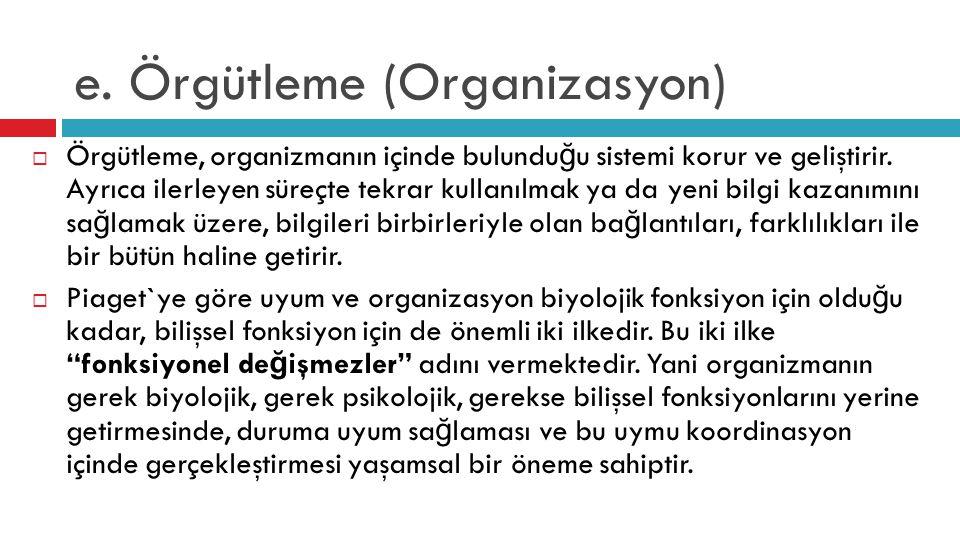 e. Örgütleme (Organizasyon)  Örgütleme, organizmanın içinde bulundu ğ u sistemi korur ve geliştirir. Ayrıca ilerleyen süreçte tekrar kullanılmak ya d