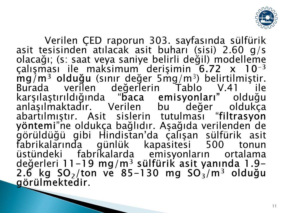 Verilen ÇED raporun 303. sayfasında sülfürik asit tesisinden atılacak asit buharı (sisi) 2.60 g/s olacağı; (s: saat veya saniye belirli değil) modelle