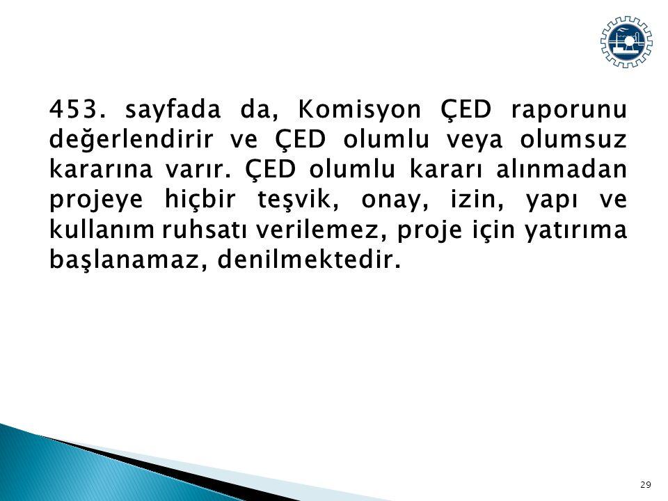 453. sayfada da, Komisyon ÇED raporunu değerlendirir ve ÇED olumlu veya olumsuz kararına varır. ÇED olumlu kararı alınmadan projeye hiçbir teşvik, ona