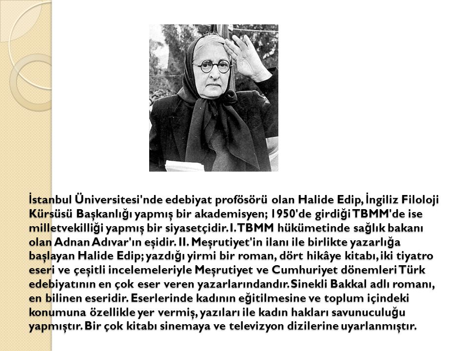 İ stanbul Üniversitesi'nde edebiyat profösörü olan Halide Edip, İ ngiliz Filoloji Kürsüsü Başkanlı ğ ı yapmış bir akademisyen; 1950'de girdi ğ i TBMM'