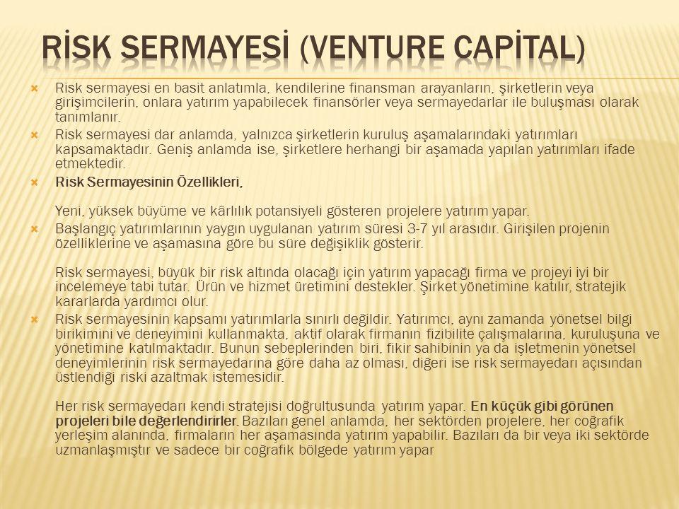  Risk sermayesi en basit anlatımla, kendilerine finansman arayanların, şirketlerin veya girişimcilerin, onlara yatırım yapabilecek finansörler veya sermayedarlar ile buluşması olarak tanımlanır.