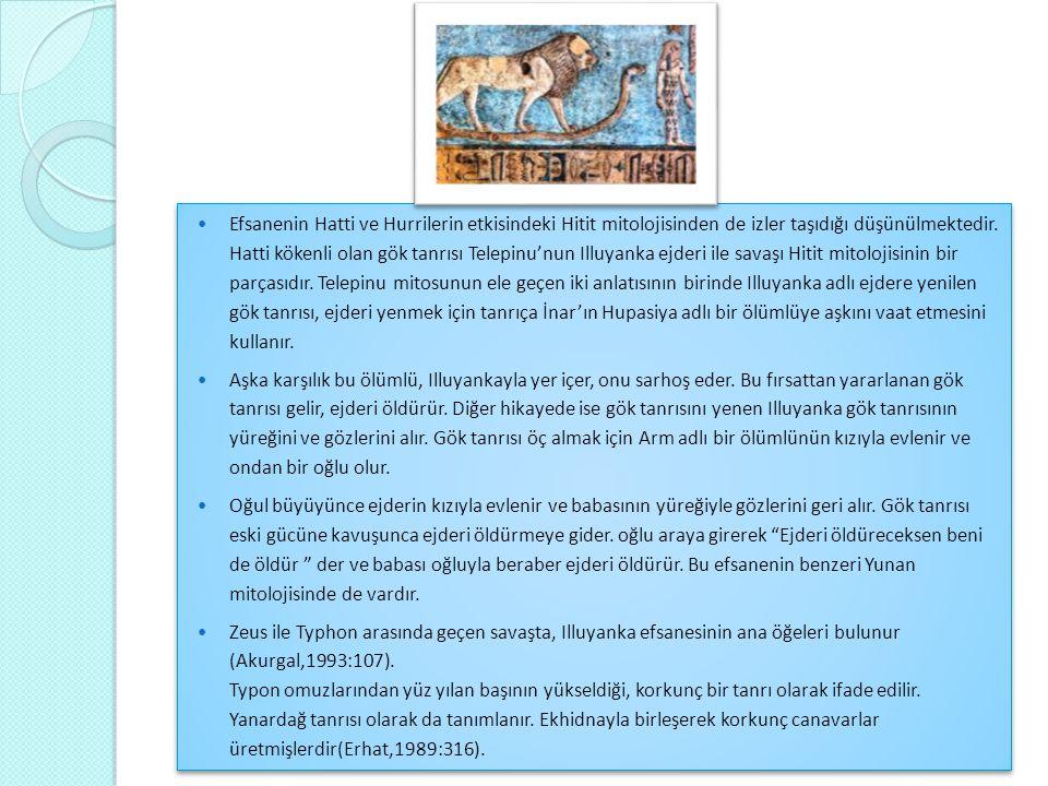  Efsanenin Hatti ve Hurrilerin etkisindeki Hitit mitolojisinden de izler taşıdığı düşünülmektedir. Hatti kökenli olan gök tanrısı Telepinu'nun Illuya