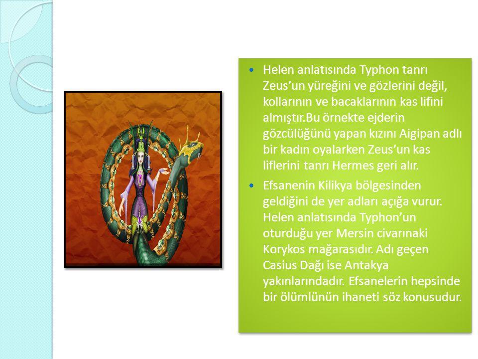  Helen anlatısında Typhon tanrı Zeus'un yüreğini ve gözlerini değil, kollarının ve bacaklarının kas lifini almıştır.Bu örnekte ejderin gözcülüğünü ya