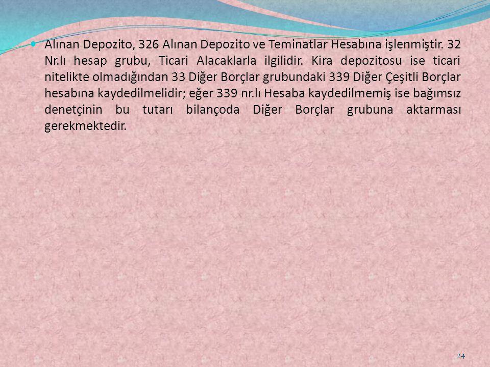  Alınan Depozito, 326 Alınan Depozito ve Teminatlar Hesabına işlenmiştir. 32 Nr.lı hesap grubu, Ticari Alacaklarla ilgilidir. Kira depozitosu ise tic