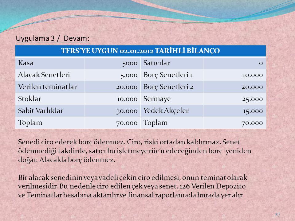 Uygulama 3 / Devam: TFRS'YE UYGUN 02.01.2012 TARİHLİ BİLANÇO Kasa5000Satıcılar0 Alacak Senetleri5.000Borç Senetleri 110.000 Verilen teminatlar20.000Bo