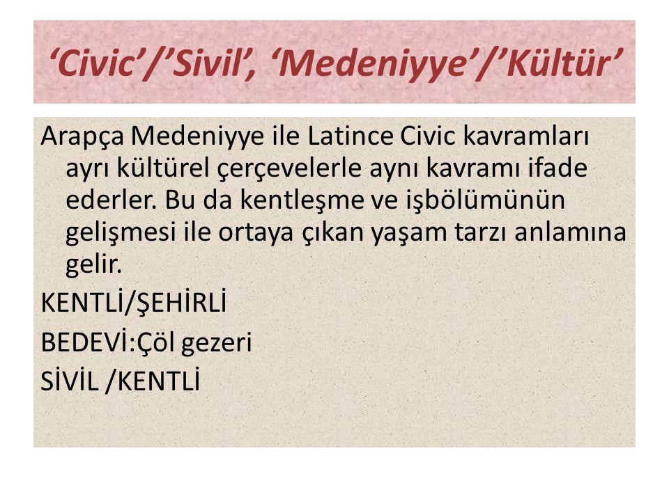 'Civic'/'Sivil', 'Medeniyye'/'Kültür' Arapça Medeniyye ile Latince Civic kavramları ayrı kültürel çerçevelerle aynı kavramı ifade ederler. Bu da kentl