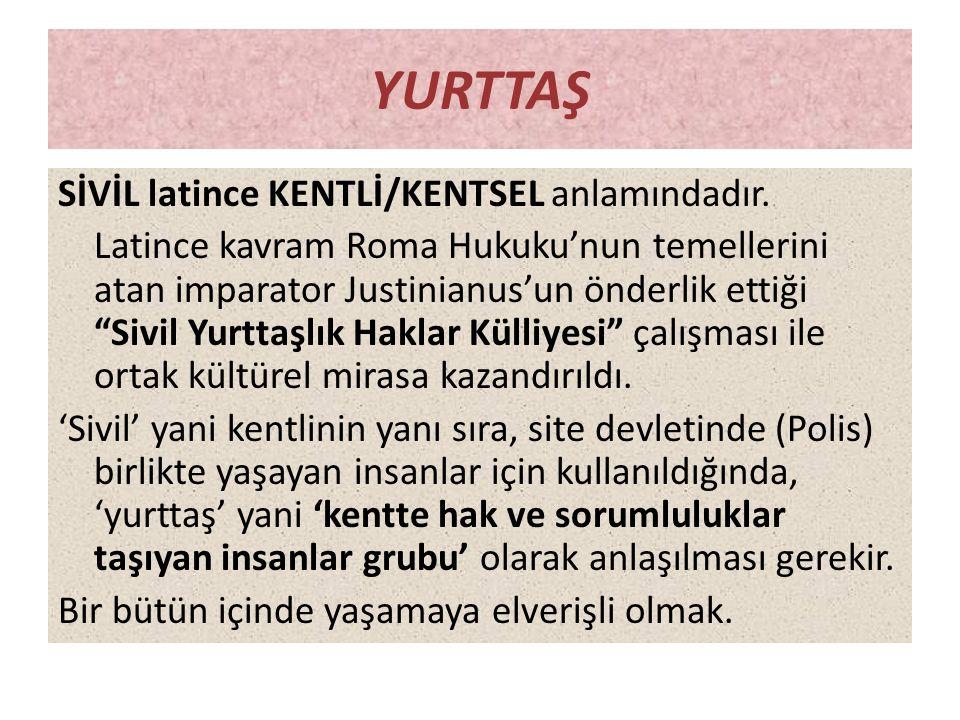 """YURTTAŞ SİVİL latince KENTLİ/KENTSEL anlamındadır. Latince kavram Roma Hukuku'nun temellerini atan imparator Justinianus'un önderlik ettiği """"Sivil Yur"""