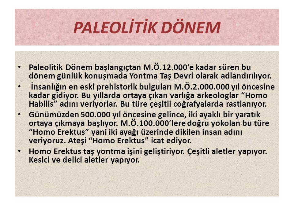 PALEOLİTİK DÖNEM • Paleolitik Dönem başlangıçtan M.Ö.12.000'e kadar süren bu dönem günlük konuşmada Yontma Taş Devri olarak adlandırılıyor. • İnsanlığ