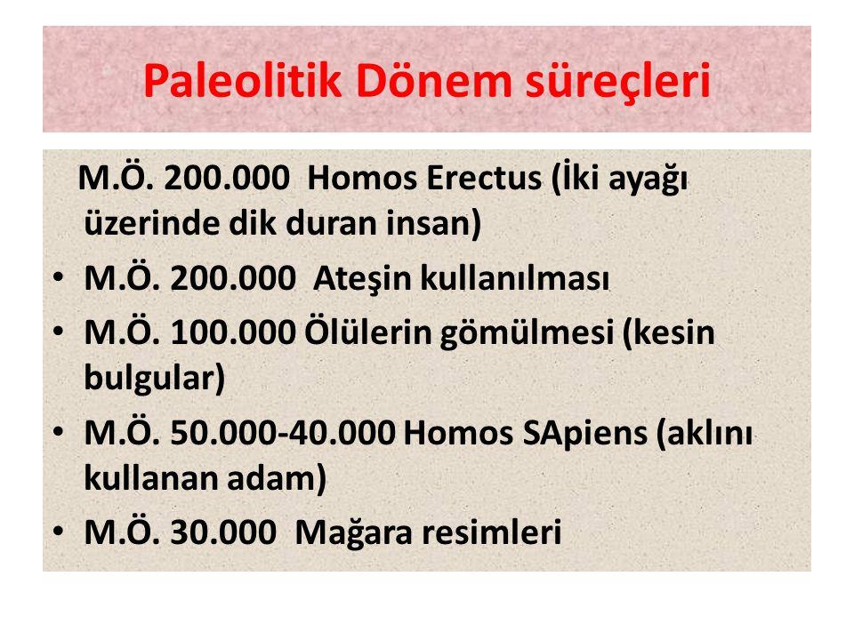 Paleolitik Dönem süreçleri M.Ö. 200.000 Homos Erectus (İki ayağı üzerinde dik duran insan) • M.Ö. 200.000 Ateşin kullanılması • M.Ö. 100.000 Ölülerin