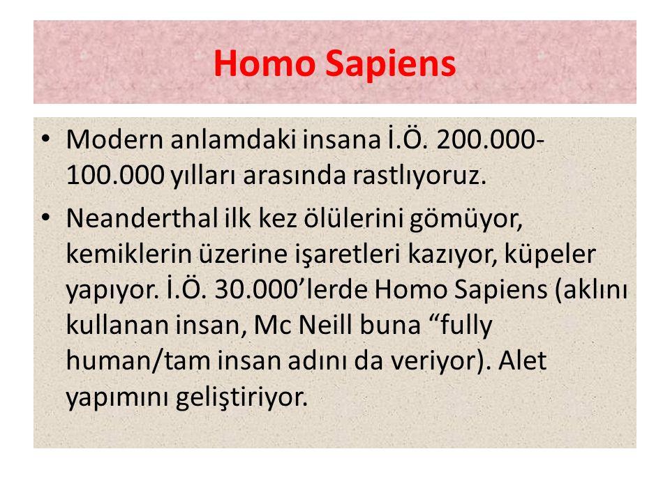 Homo Sapiens • Modern anlamdaki insana İ.Ö. 200.000- 100.000 yılları arasında rastlıyoruz. • Neanderthal ilk kez ölülerini gömüyor, kemiklerin üzerine