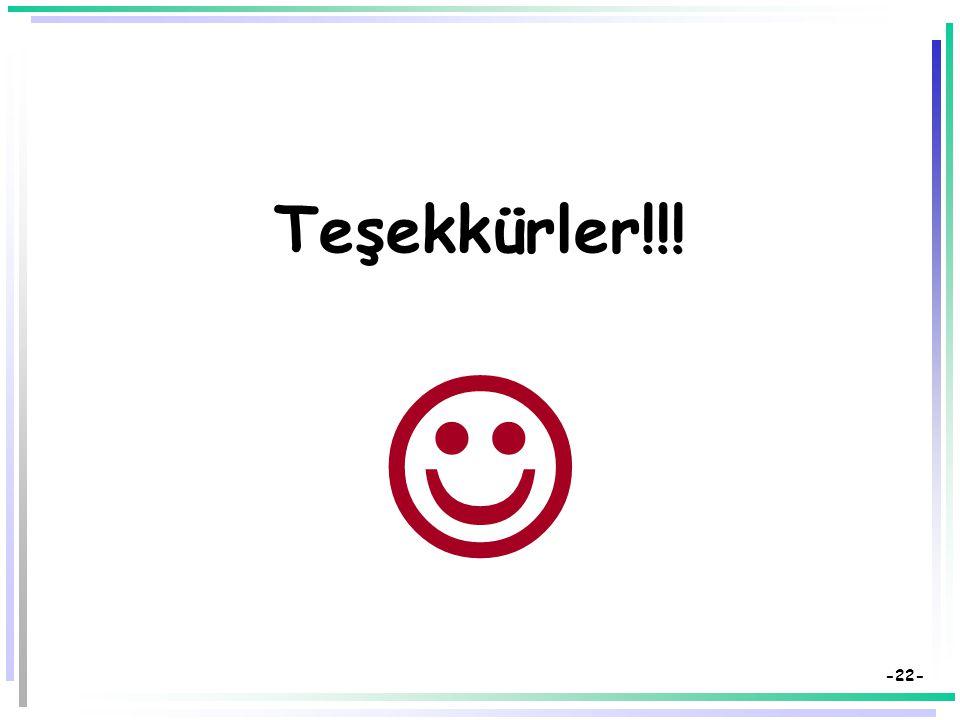 -21- Kaynakça  Bilen, M. (1999). Plandan uygulamaya öğretim. Ankara: Anı Yayıncılık.  Demirel, Özcan (2008). Öğretim İlke ve Yöntemleri: Öğretme san