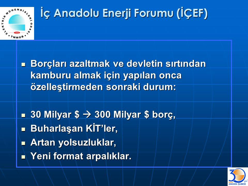 İç Anadolu Enerji Forumu (İÇEF)  Borçları azaltmak ve devletin sırtından kamburu almak için yapılan onca özelleştirmeden sonraki durum:  30 Milyar $