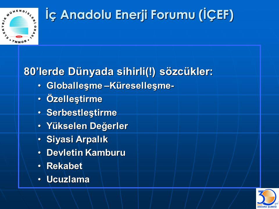 İç Anadolu Enerji Forumu (İÇEF) 80'lerde Dünyada sihirli(!) sözcükler: •Globalleşme –Küreselleşme- •Özelleştirme •Serbestleştirme •Yükselen Değerler •