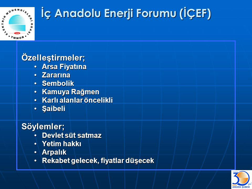 İç Anadolu Enerji Forumu (İÇEF) Özelleştirmeler; •Arsa Fiyatına •Zararına •Sembolik •Kamuya Rağmen •Karlı alanlar öncelikli •Şaibeli Söylemler; •Devle
