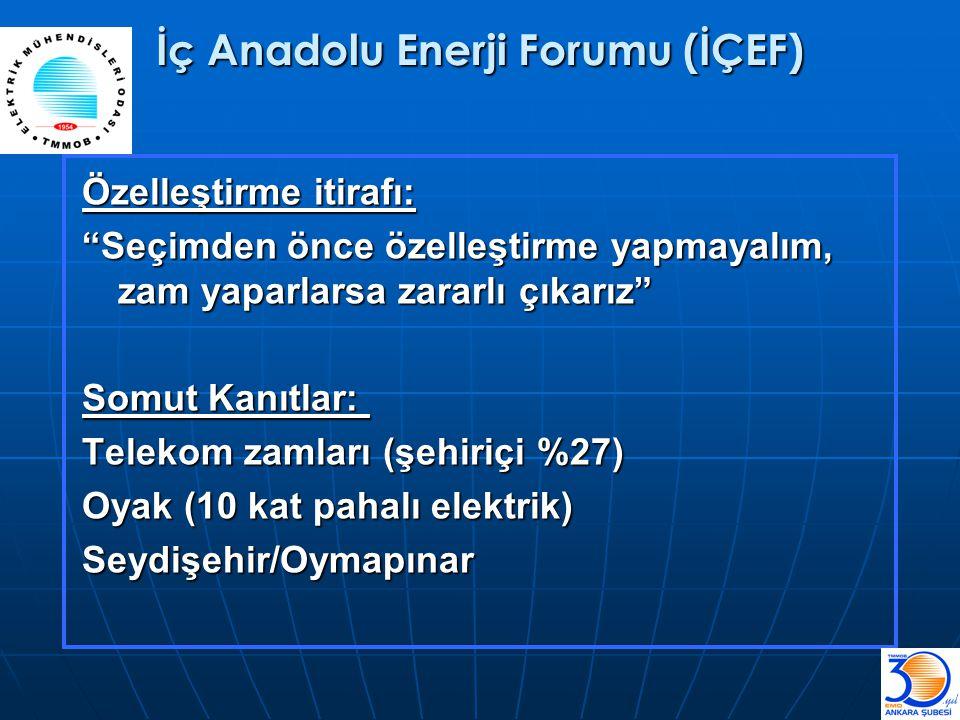 """İç Anadolu Enerji Forumu (İÇEF) Özelleştirme itirafı: """"Seçimden önce özelleştirme yapmayalım, zam yaparlarsa zararlı çıkarız"""" Somut Kanıtlar: Telekom"""