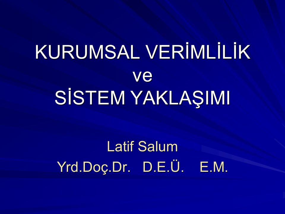KURUMSAL VERİMLİLİK ve SİSTEM YAKLAŞIMI Latif Salum Yrd.Doç.Dr.D.E.Ü.E.M.