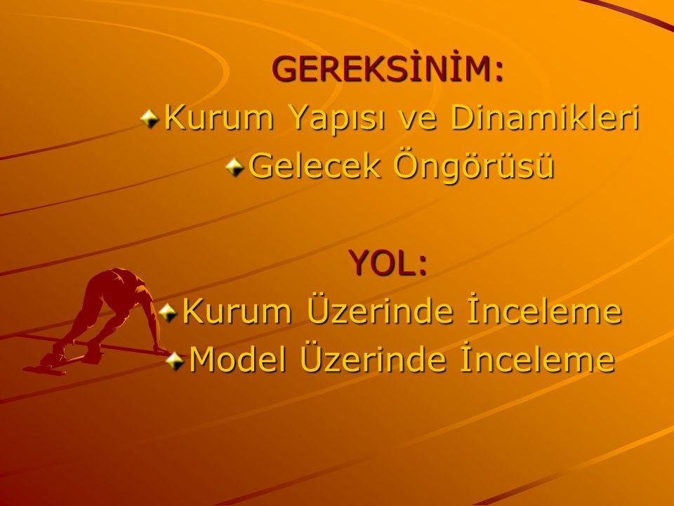 GEREKSİNİM: Kurum Yapısı ve Dinamikleri Gelecek Öngörüsü YOL: Kurum Üzerinde İnceleme Model Üzerinde İnceleme