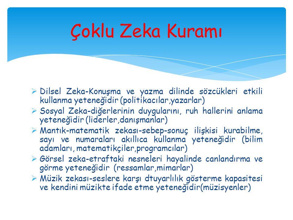  Dilsel Zeka-Konuşma ve yazma dilinde sözcükleri etkili kullanma yeteneğidir (politikacılar,yazarlar)  Sosyal Zeka-diğerlerinin duygularını, ruh hal