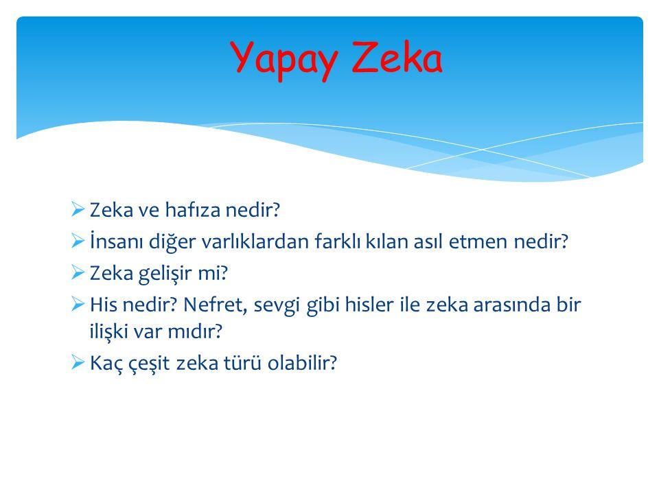 Yapay Zeka  Zeka ve hafıza nedir?  İnsanı diğer varlıklardan farklı kılan asıl etmen nedir?  Zeka gelişir mi?  His nedir? Nefret, sevgi gibi hisle